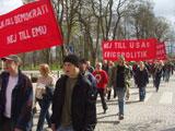 Första maj-demonstrationen. Klicka på bilden för att se den i större format.