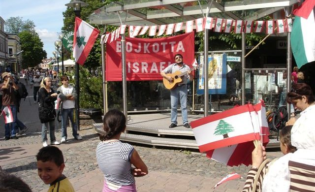 Protestmöte mot Israels krig