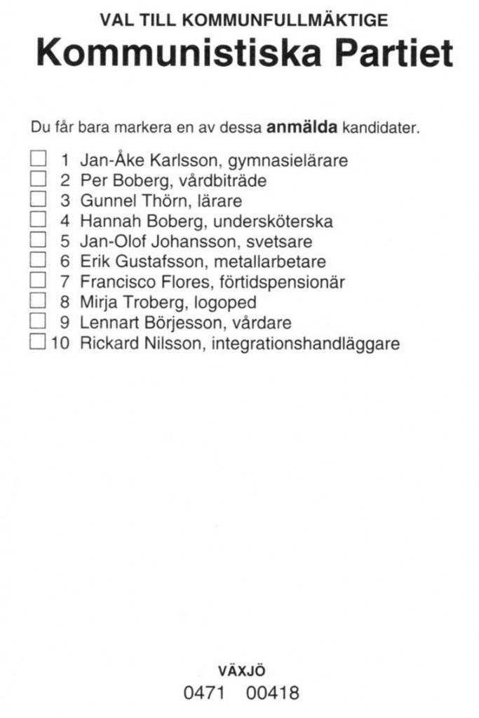 Kommunistiska Partiets valsedel i Växjö 2010